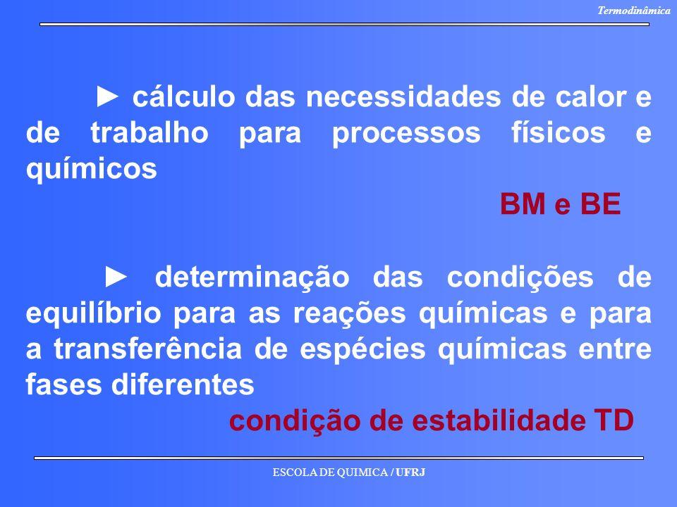 ► cálculo das necessidades de calor e de trabalho para processos físicos e químicos