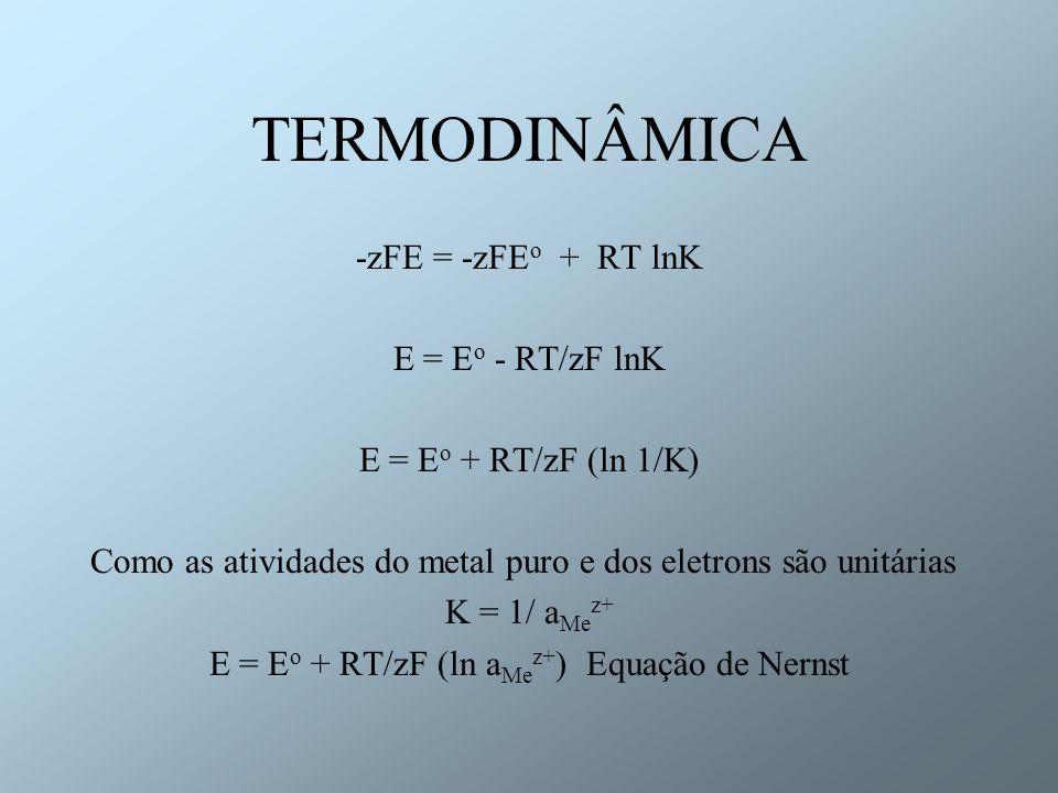 E = Eo + RT/zF (ln aMez+) Equação de Nernst