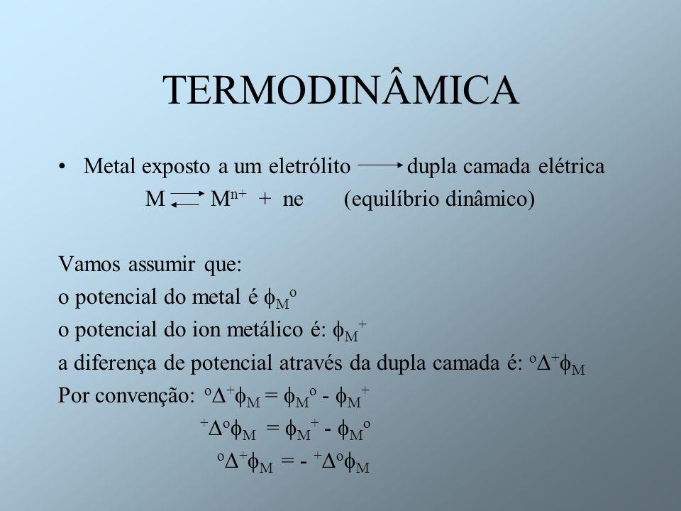 M Mn+ + ne (equilíbrio dinâmico)