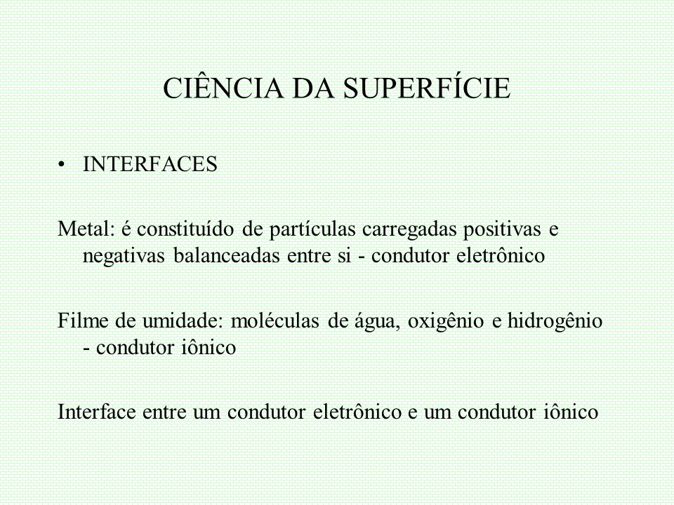 CIÊNCIA DA SUPERFÍCIE INTERFACES
