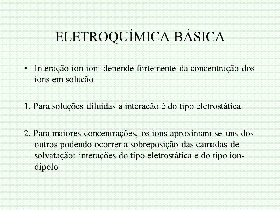 ELETROQUÍMICA BÁSICA Interação ion-ion: depende fortemente da concentração dos ions em solução.