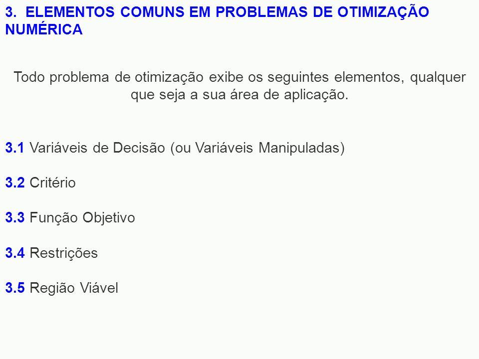 3. ELEMENTOS COMUNS EM PROBLEMAS DE OTIMIZAÇÃO NUMÉRICA