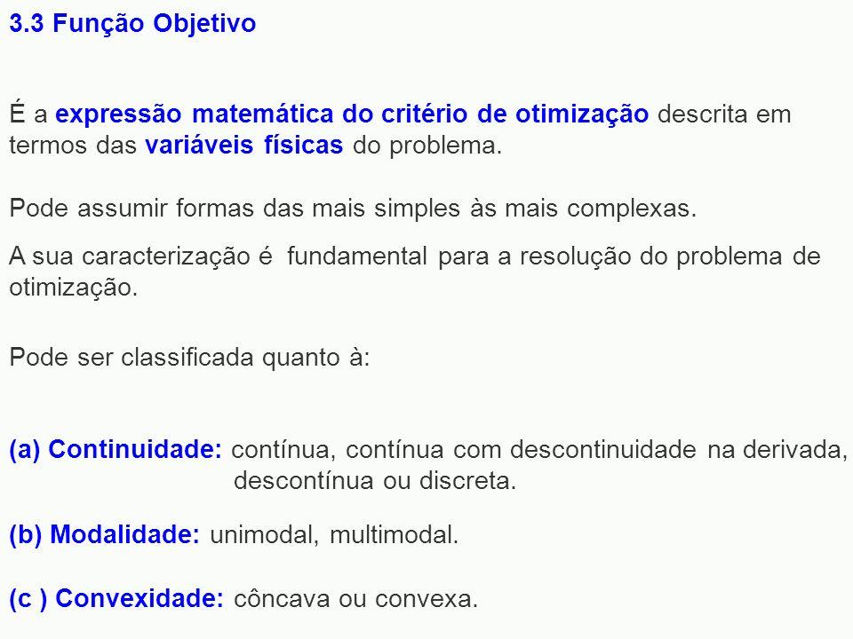 3.3 Função ObjetivoÉ a expressão matemática do critério de otimização descrita em termos das variáveis físicas do problema.