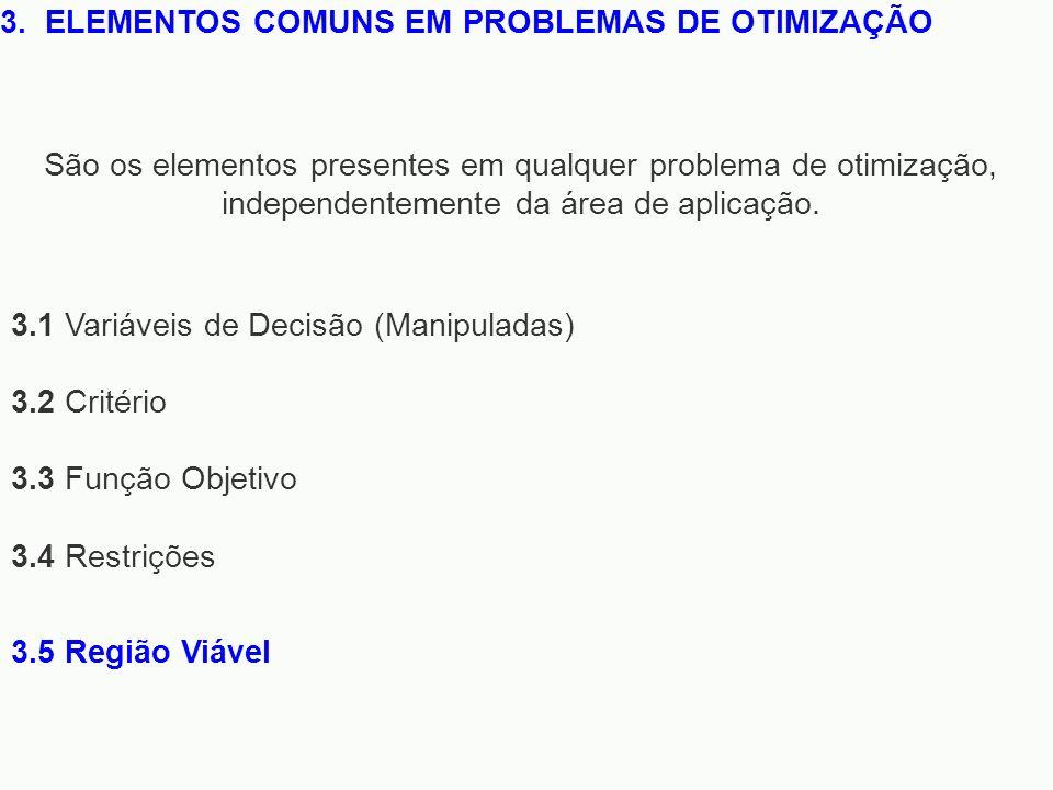 3. ELEMENTOS COMUNS EM PROBLEMAS DE OTIMIZAÇÃO