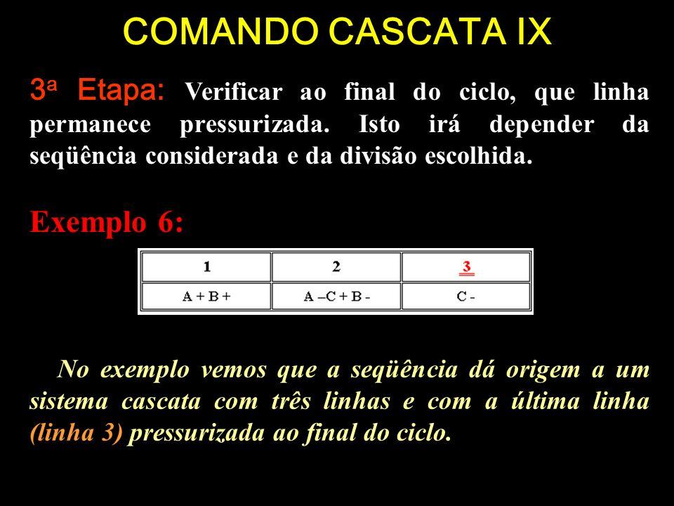 COMANDO CASCATA IX Exemplo 6: