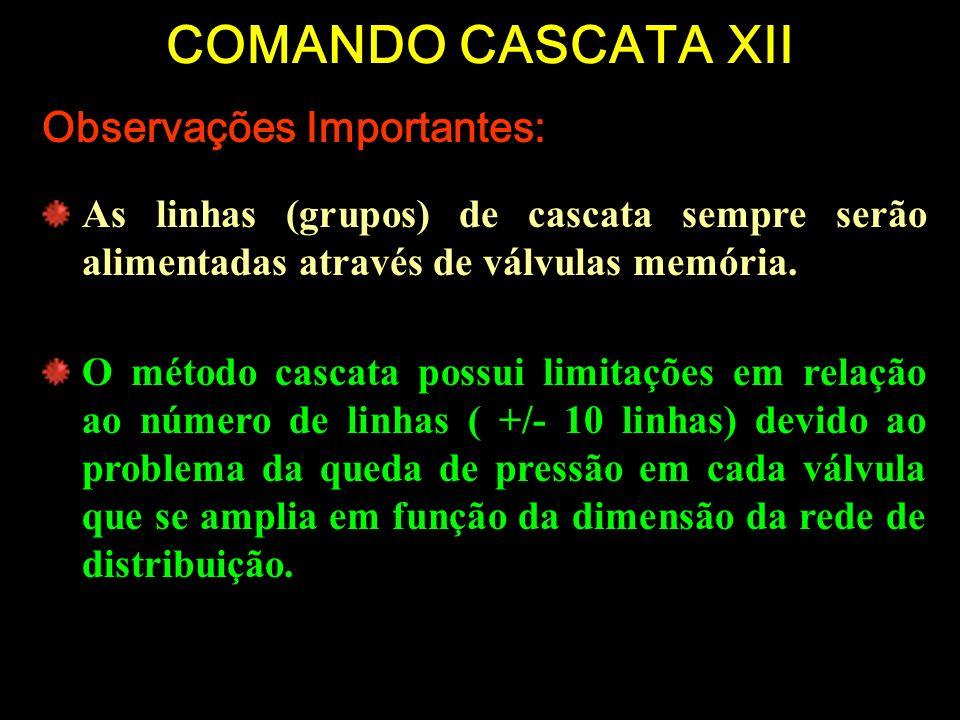 COMANDO CASCATA XII Observações Importantes: