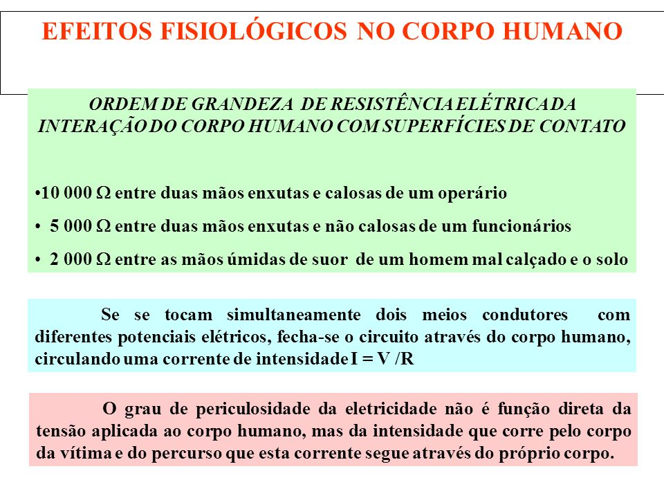 EFEITOS FISIOLÓGICOS NO CORPO HUMANO