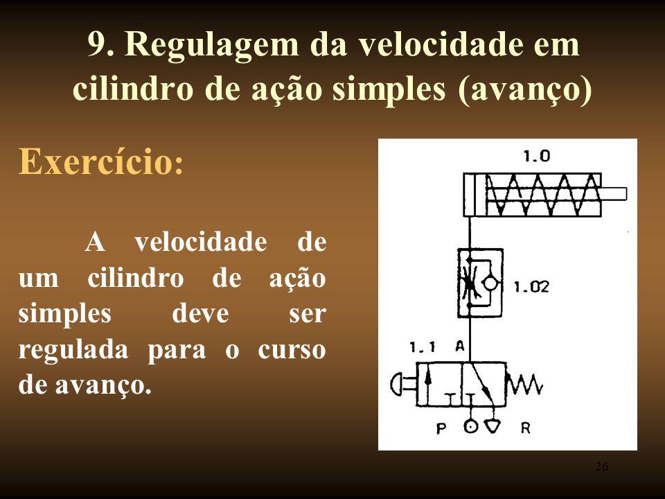9. Regulagem da velocidade em cilindro de ação simples (avanço)