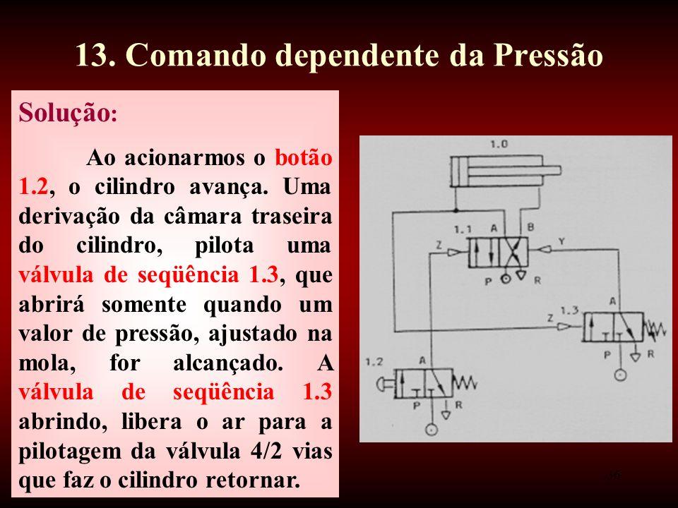 13. Comando dependente da Pressão