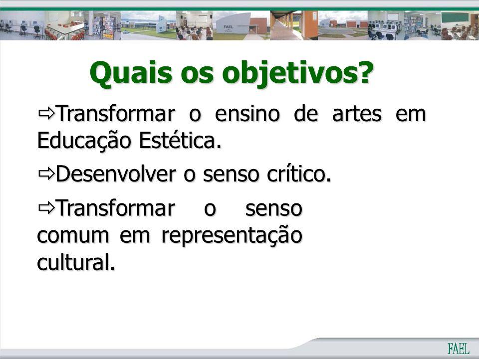 Quais os objetivos Transformar o ensino de artes em Educação Estética. Desenvolver o senso crítico.