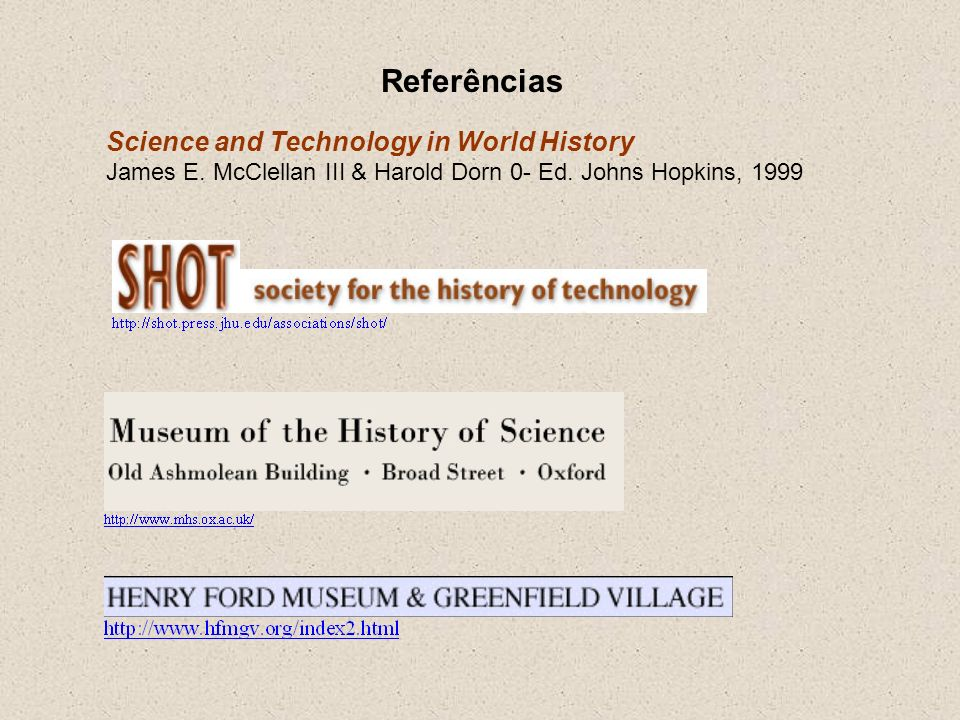 Referências Science and Technology in World History