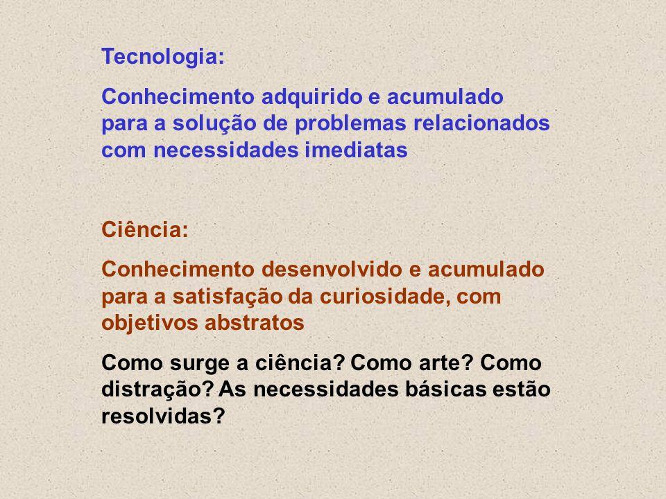 Tecnologia:Conhecimento adquirido e acumulado para a solução de problemas relacionados com necessidades imediatas.