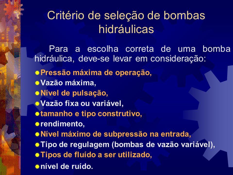 Critério de seleção de bombas hidráulicas
