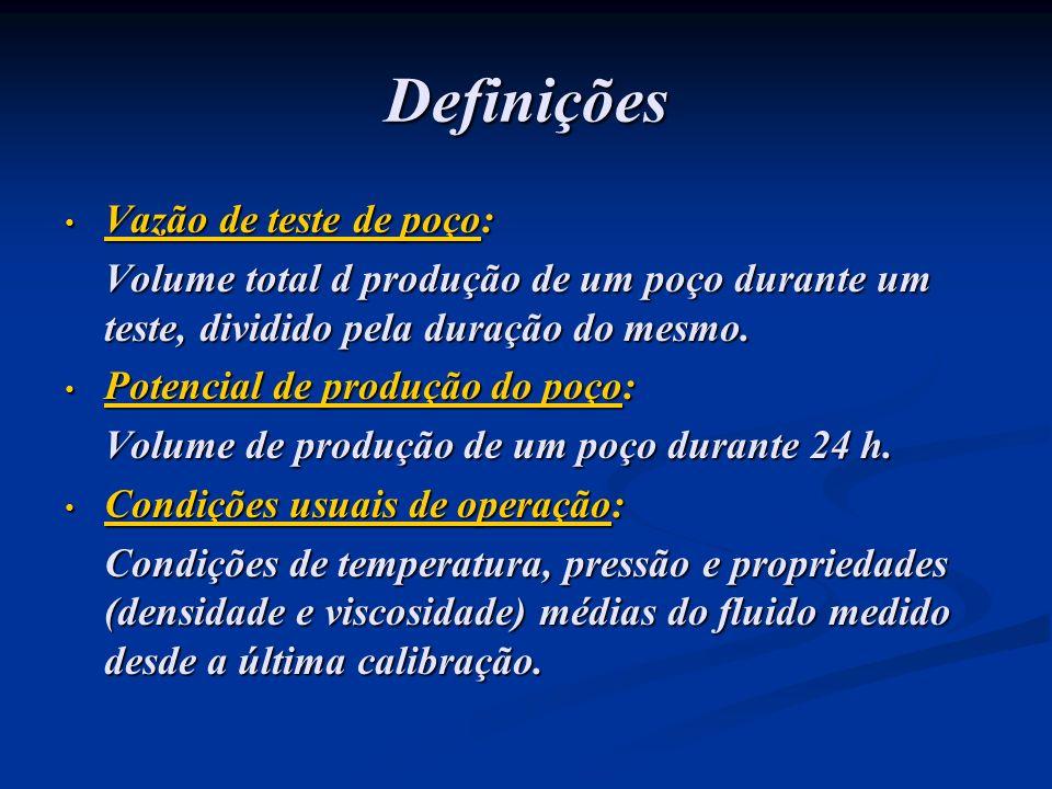 Definições Vazão de teste de poço: