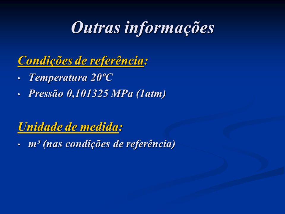 Outras informações Condições de referência: Unidade de medida: