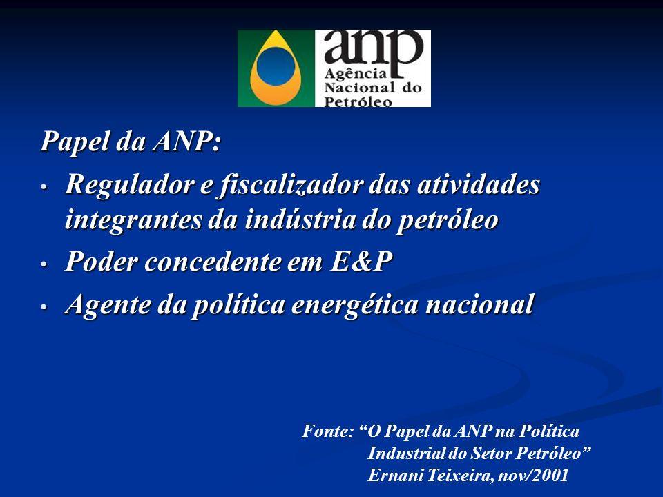 Poder concedente em E&P Agente da política energética nacional