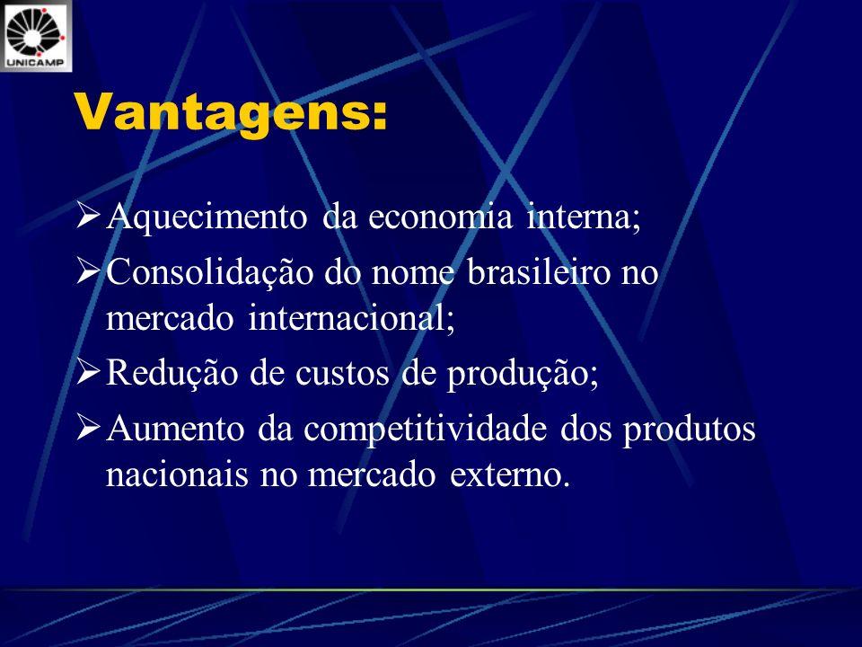 Vantagens: Aquecimento da economia interna;