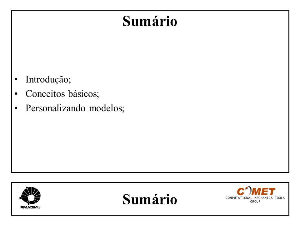 Sumário Introdução; Conceitos básicos; Personalizando modelos; Sumário