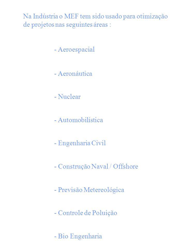 Na Indústria o MEF tem sido usado para otimização de projetos nas seguintes áreas :