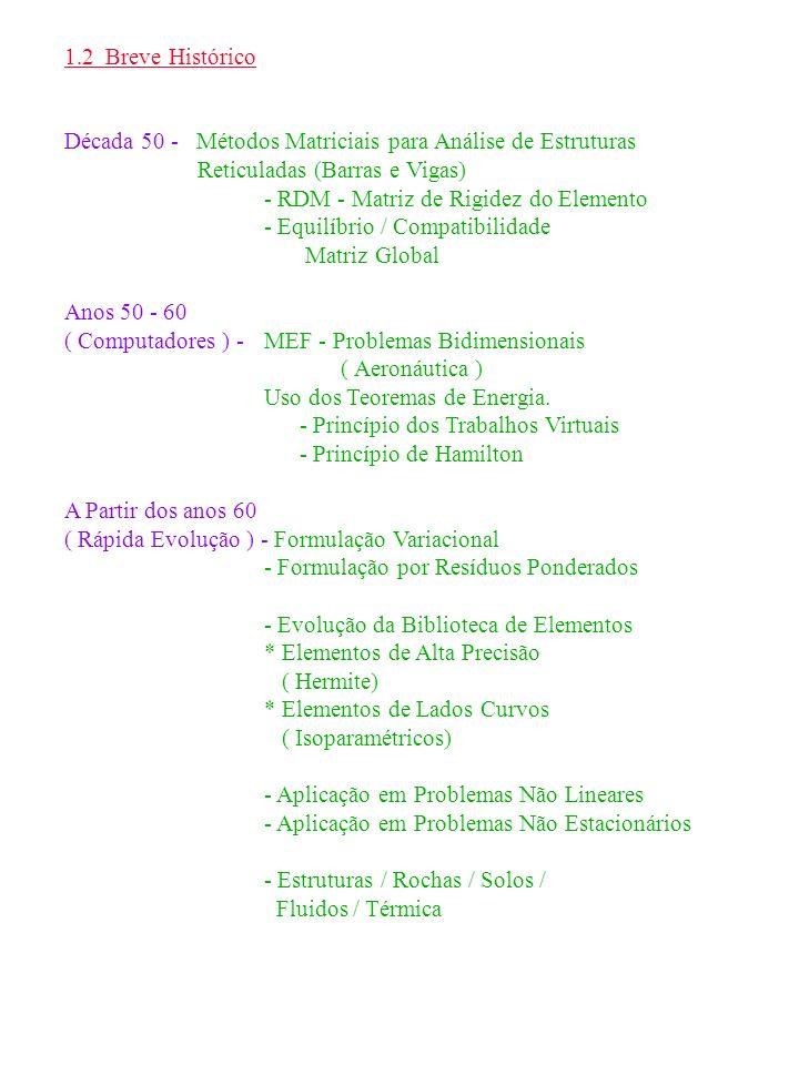 1.2 Breve Histórico Década 50 - Métodos Matriciais para Análise de Estruturas Reticuladas (Barras e Vigas)