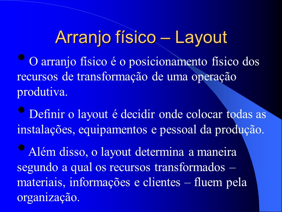 Arranjo físico – Layout
