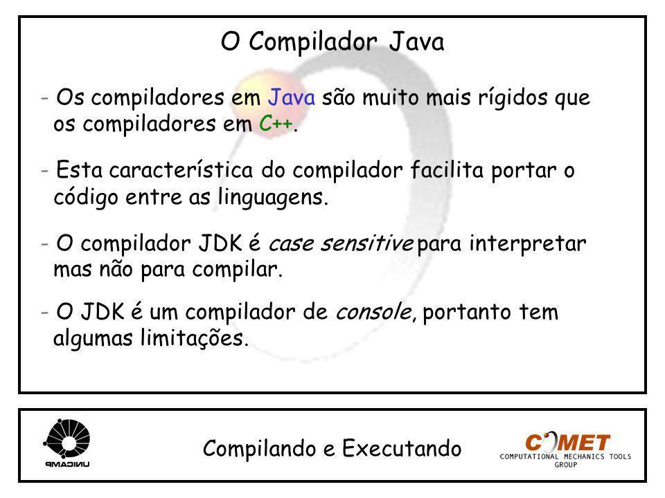 O Compilador Java - Os compiladores em Java são muito mais rígidos que