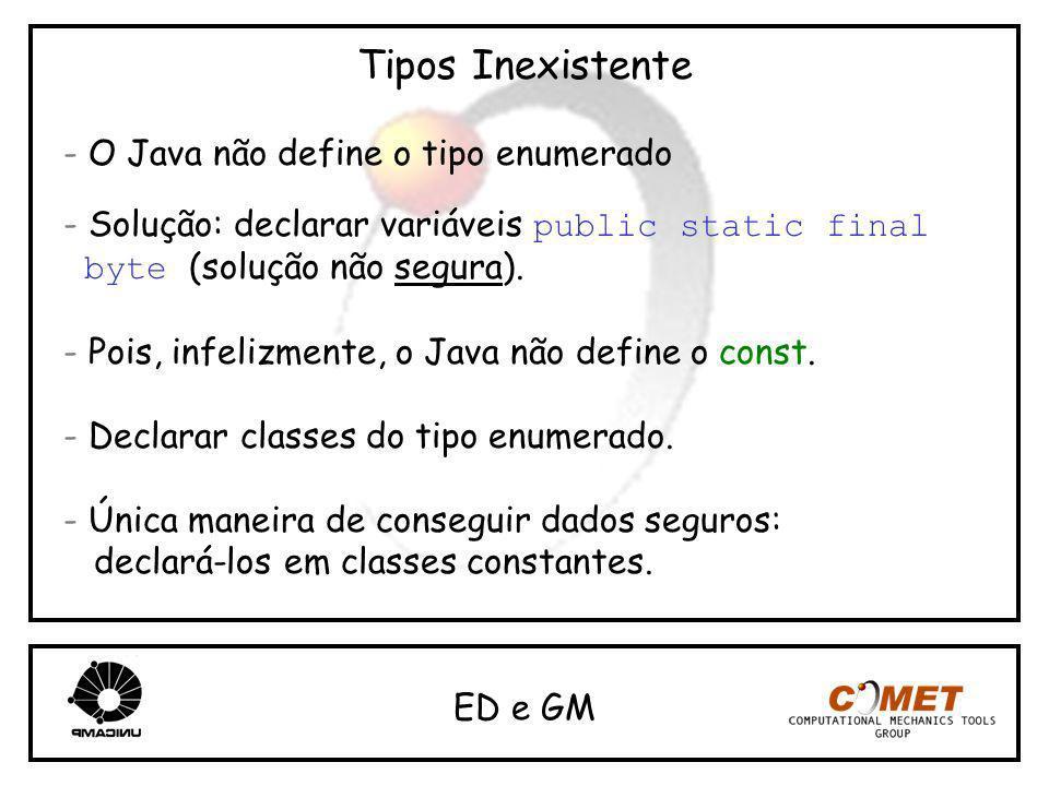 Tipos Inexistente - O Java não define o tipo enumerado