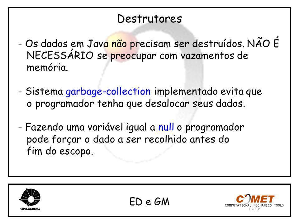 Destrutores - Os dados em Java não precisam ser destruídos. NÃO É