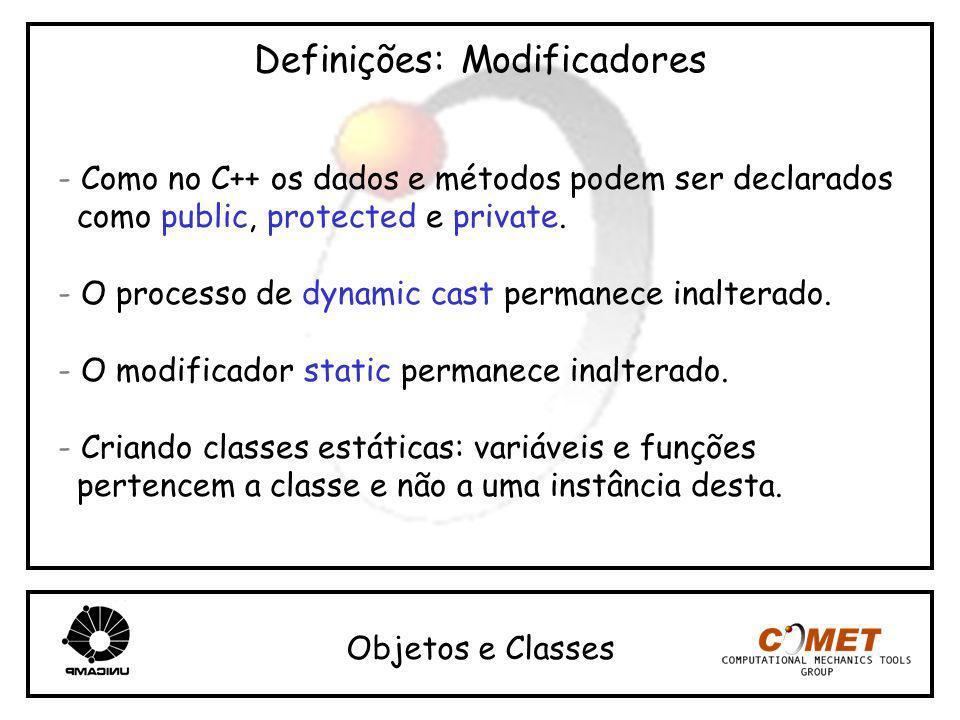 Definições: Modificadores