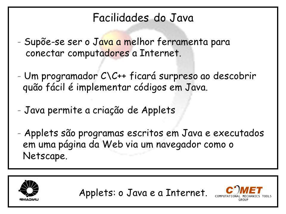 Facilidades do Java - Supõe-se ser o Java a melhor ferramenta para