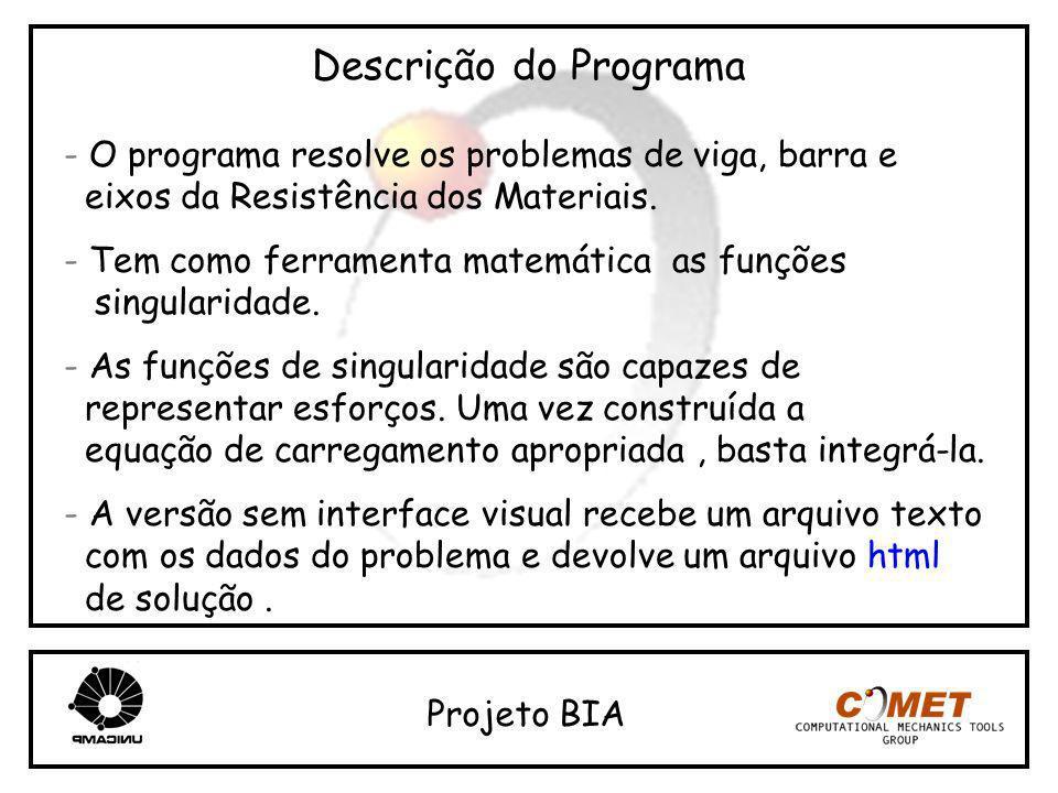 Descrição do Programa - O programa resolve os problemas de viga, barra e. eixos da Resistência dos Materiais.
