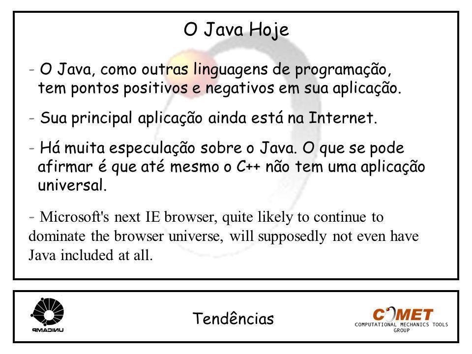 O Java Hoje - O Java, como outras linguagens de programação,