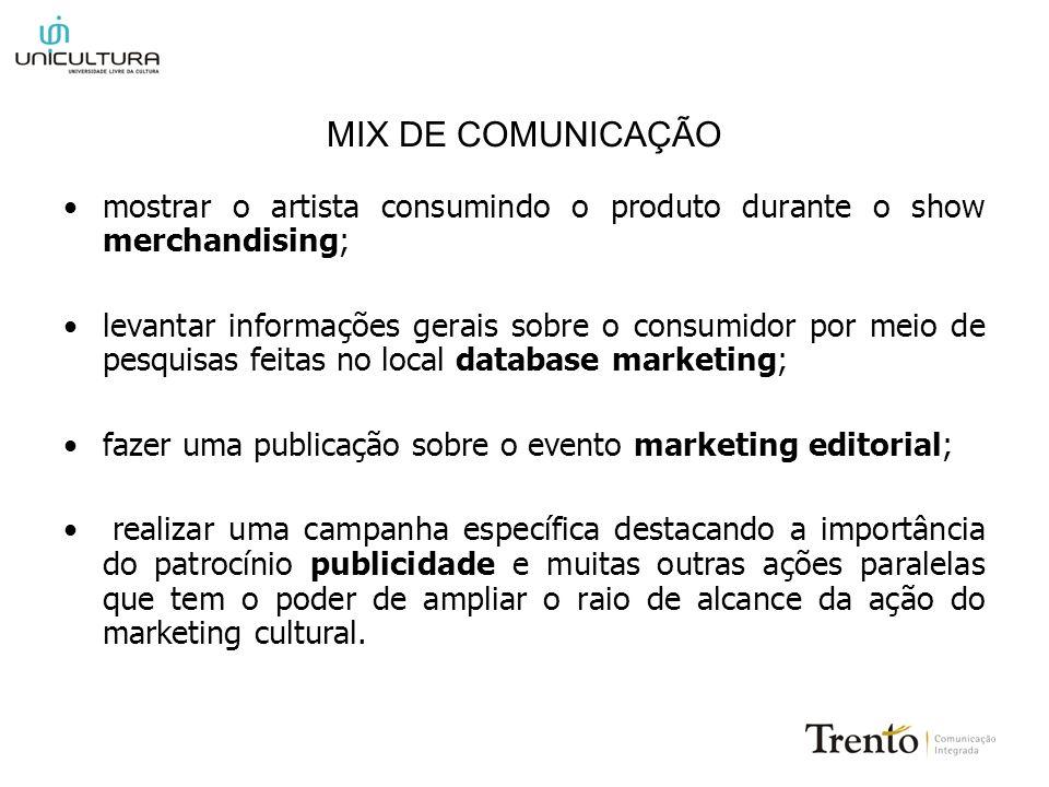 MIX DE COMUNICAÇÃO mostrar o artista consumindo o produto durante o show merchandising;