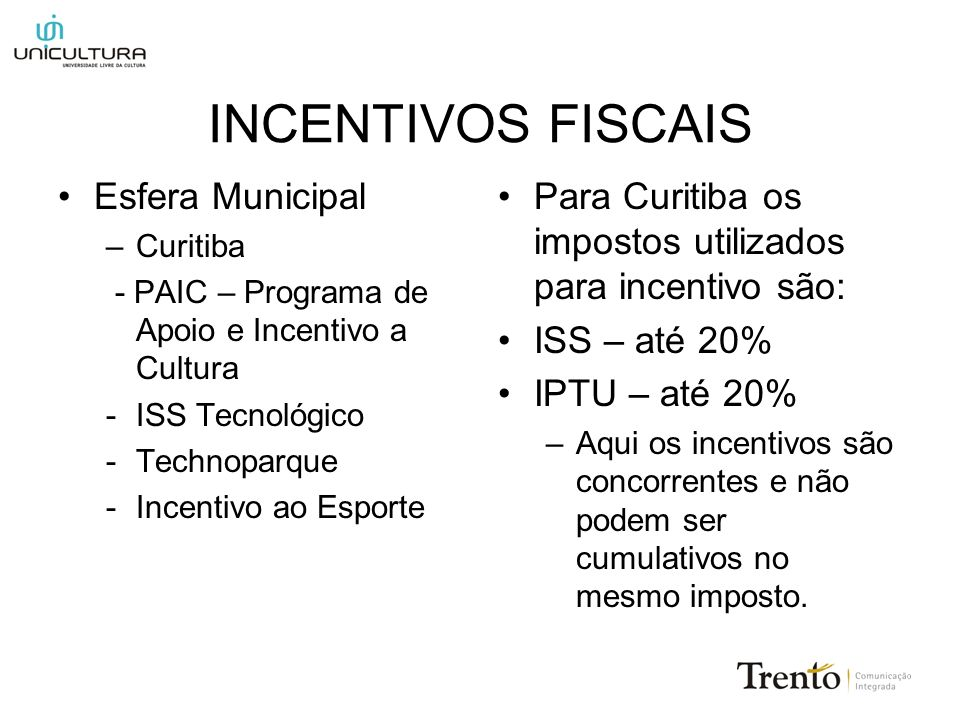 INCENTIVOS FISCAIS Esfera Municipal