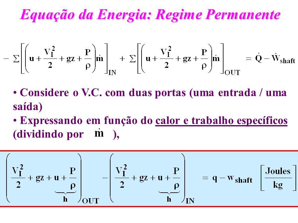 Equação da Energia: Regime Permanente