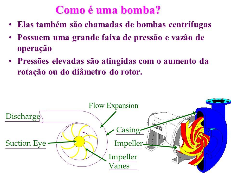 Como é uma bomba Elas também são chamadas de bombas centrífugas