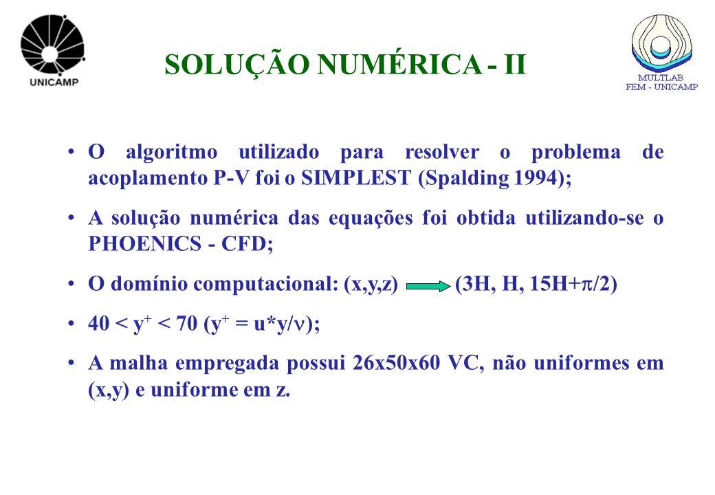 SOLUÇÃO NUMÉRICA - II O algoritmo utilizado para resolver o problema de acoplamento P-V foi o SIMPLEST (Spalding 1994);
