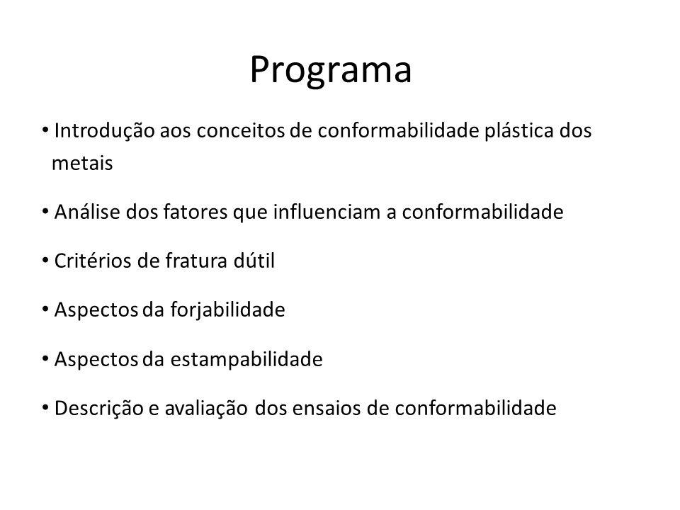 Programa Introdução aos conceitos de conformabilidade plástica dos