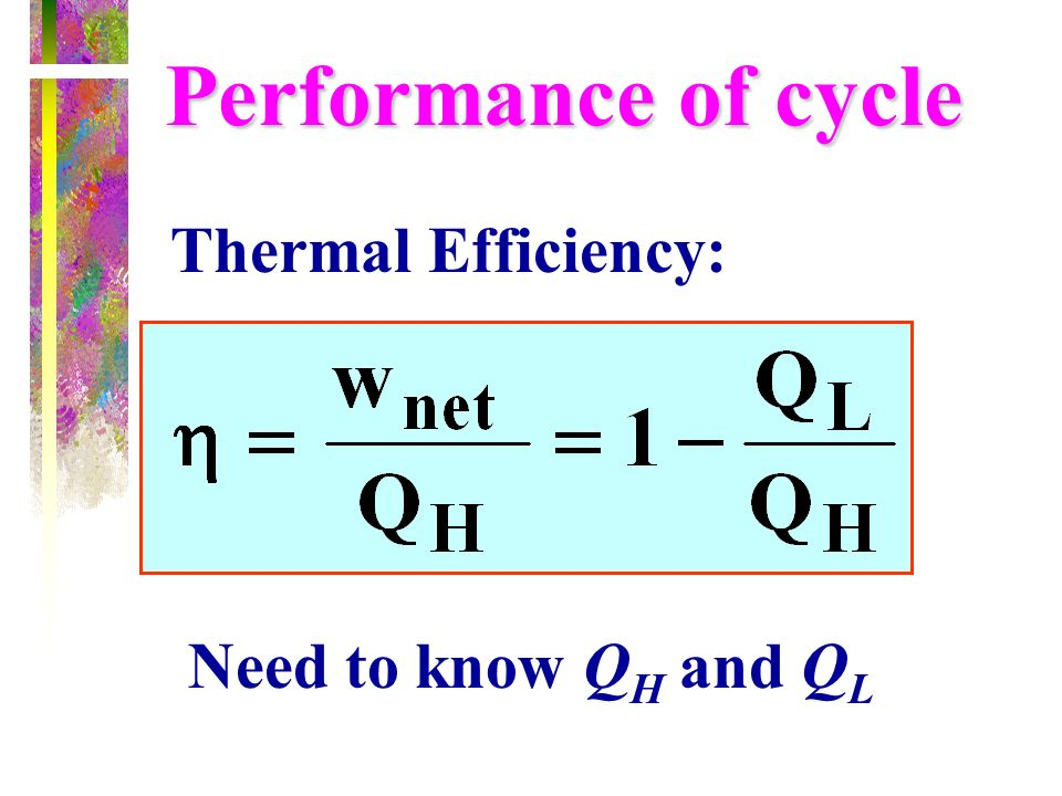Performance of cycle Thermal Efficiency: Need to know QH and QL