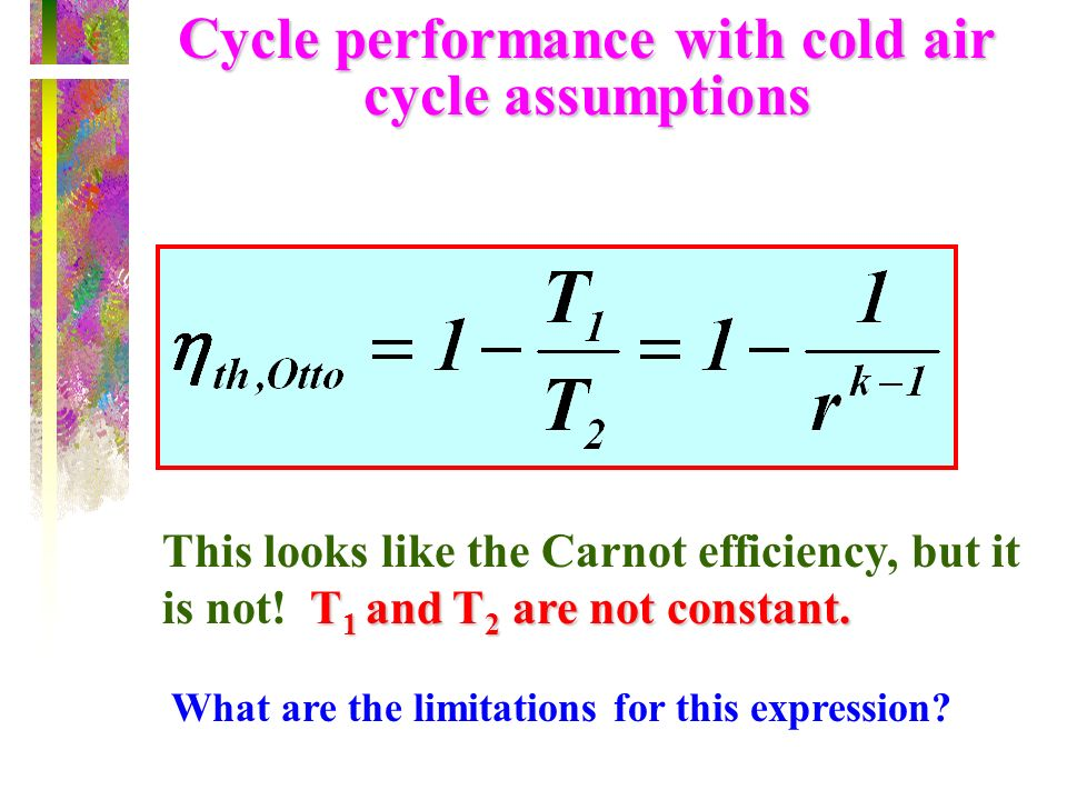 Cycle performance with cold air cycle assumptions
