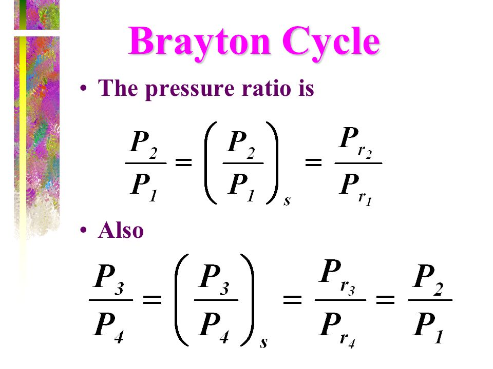 Brayton Cycle The pressure ratio is Also