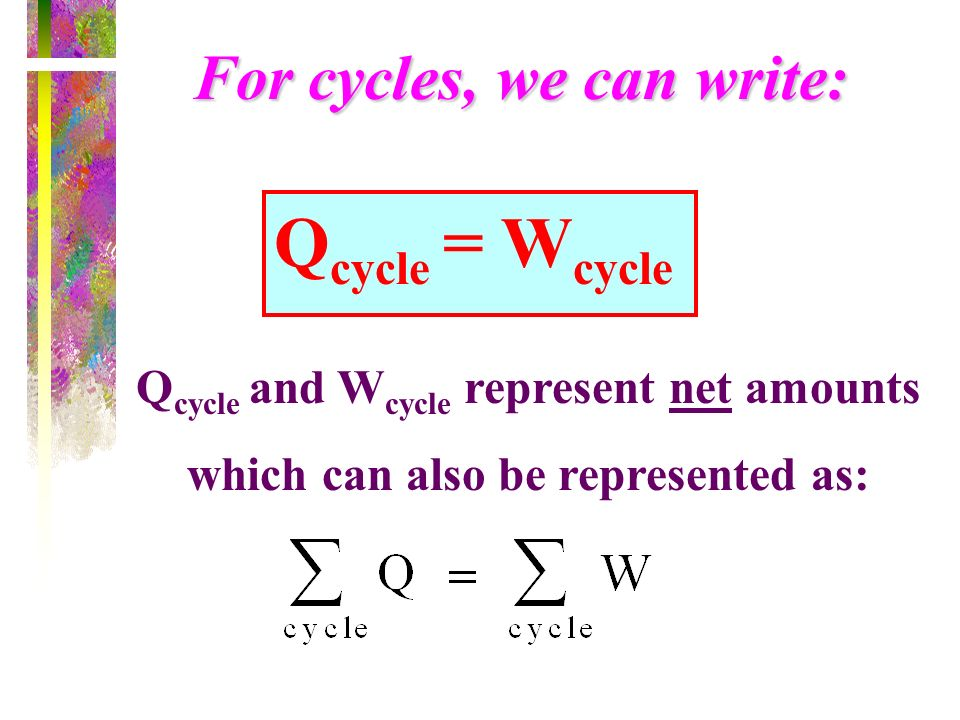 Qcycle = Wcycle For cycles, we can write: