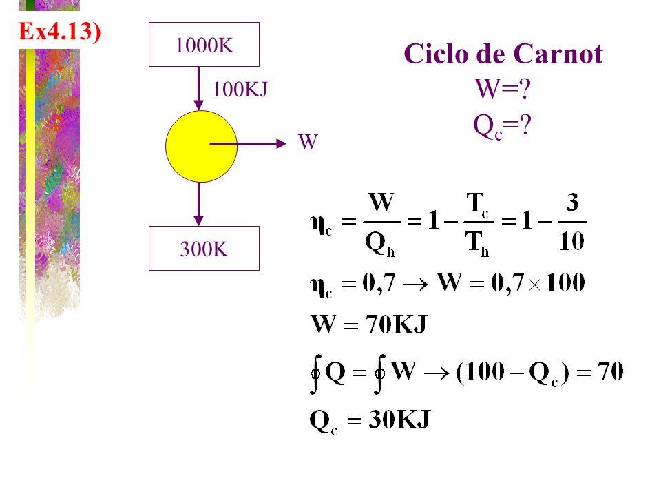 Ex4.13) 1000K 300K W 100KJ Ciclo de Carnot W= Qc=