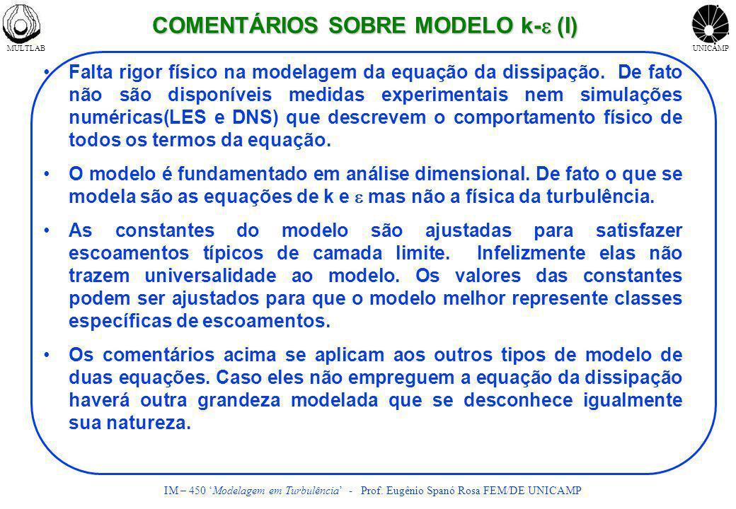 COMENTÁRIOS SOBRE MODELO k-e (I)