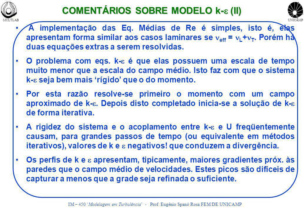 COMENTÁRIOS SOBRE MODELO k-e (II)