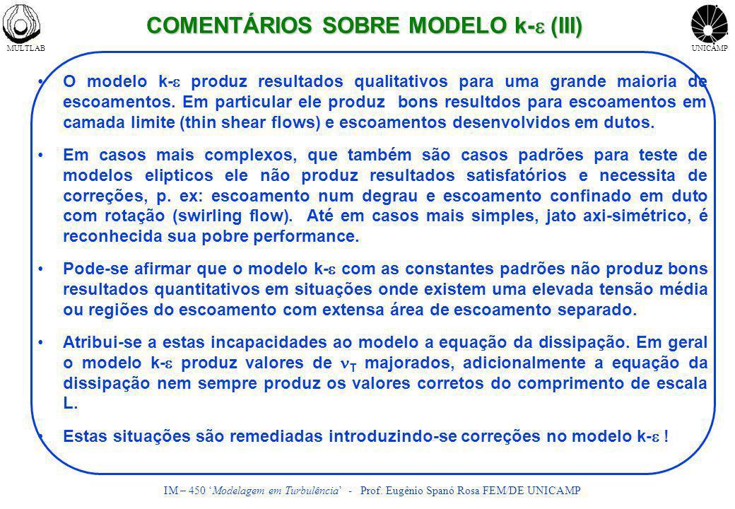 COMENTÁRIOS SOBRE MODELO k-e (III)