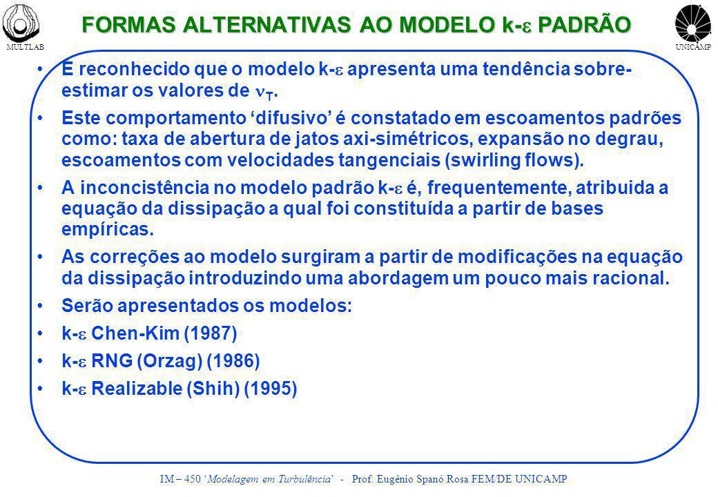 FORMAS ALTERNATIVAS AO MODELO k-e PADRÃO