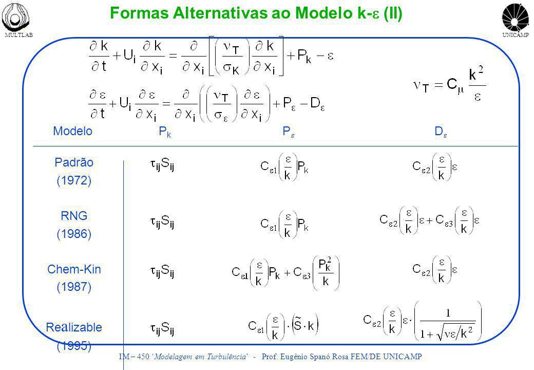 Formas Alternativas ao Modelo k-e (II)