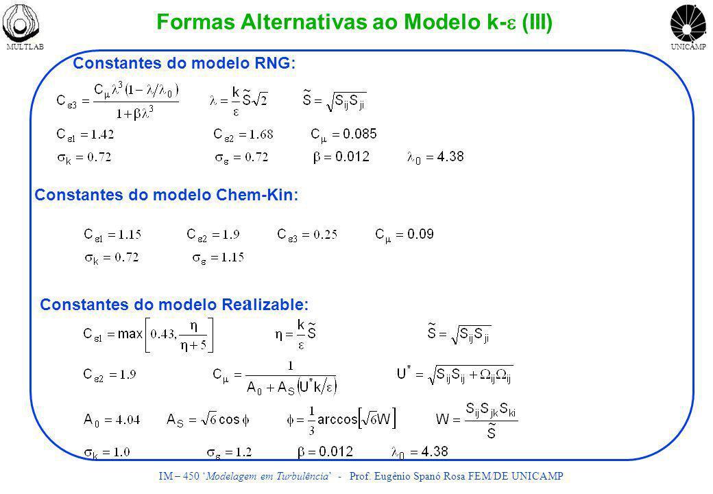 Formas Alternativas ao Modelo k-e (III)
