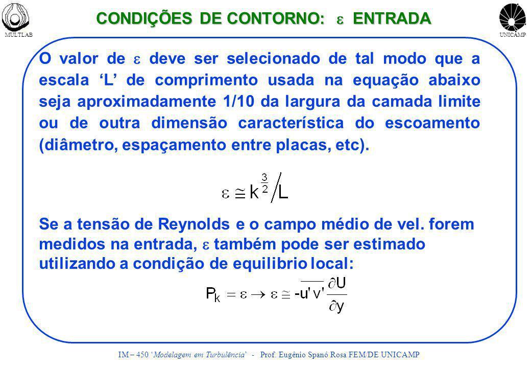 CONDIÇÕES DE CONTORNO: e ENTRADA